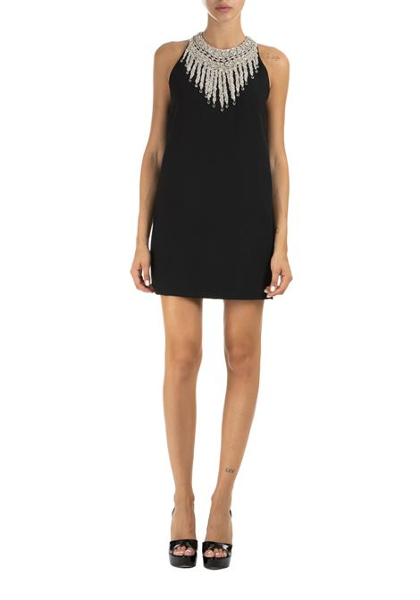 BLACK DRESS WITH CRYSTAL EMBROIDERED DETAILS DONDUP | Dress | A981TS0010XXXMDW19999
