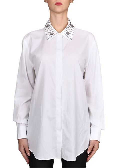 WHITE COTTON POPLIN SHIRT DONDUP | Shirts | DC081PF0014D040CPDD000