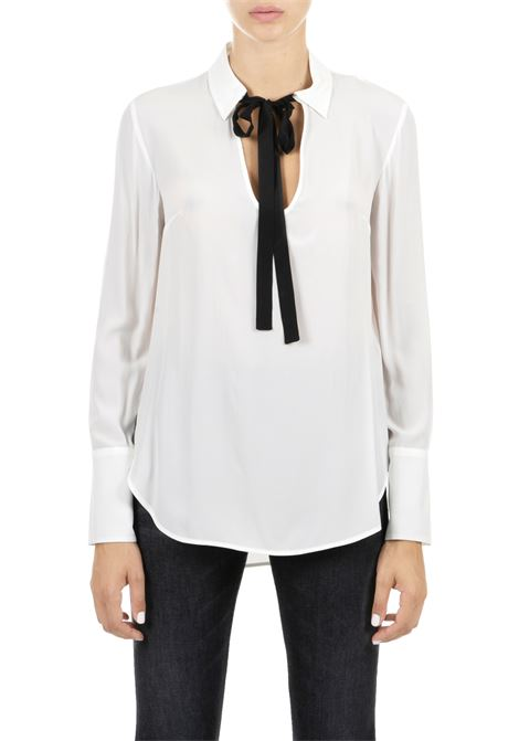WHITE SHIRT WITH KNOTTED COLLAR DONDUP | Shirts | DC087SF0050XXXPDDW19000