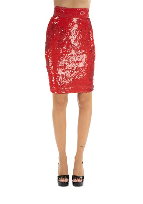 RED SEQUIN SKIRTRED SEQUIN SKIRT DONDUP | Skirts | G447JS0230XXXMDW19500
