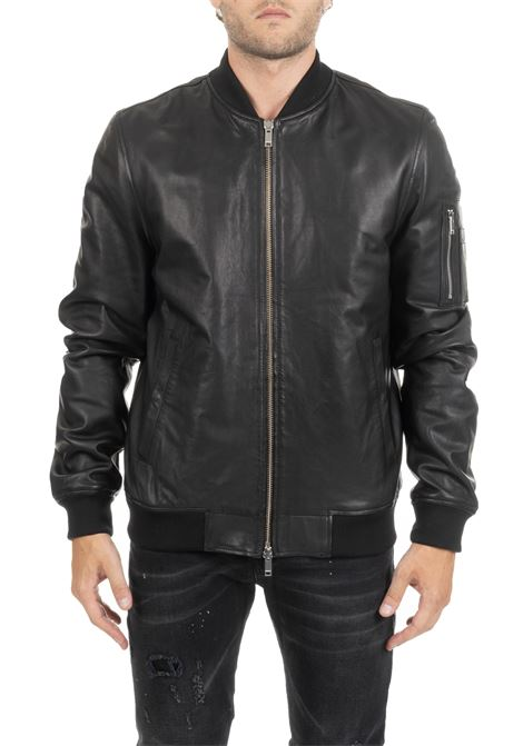 BLACK LEATHER BOMBER DONDUP | Jackets | UJ672PL0219SNCDUW19999
