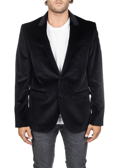 BLACK JACKET IN SMOOTH VELVET REVER A LANCIA DONDUP | Jackets | UJ678PX0051SZCDUW19999