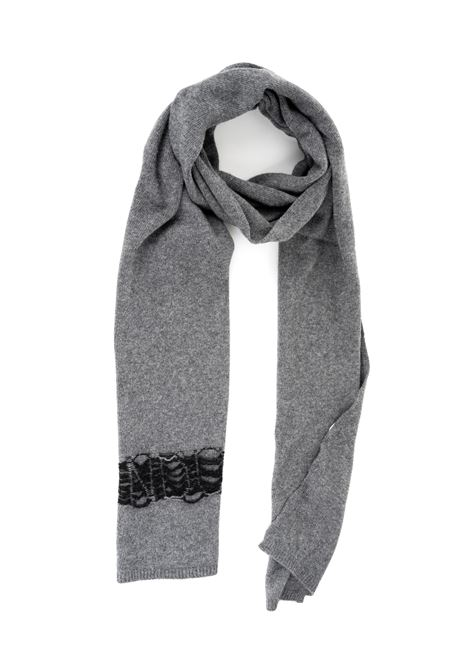 GRAY SCARF WITH BLACK EMBROIDERED BAND DONDUP | Scarfs | UK110Y00378XXXDUW19909