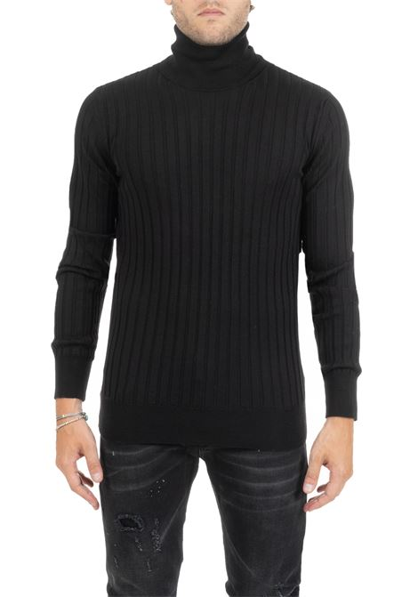 BLACK SWEATER WITH A HIGH DOLCEVITA COLLAR DONDUP | Sweaters | UM981M00692002MDW19999
