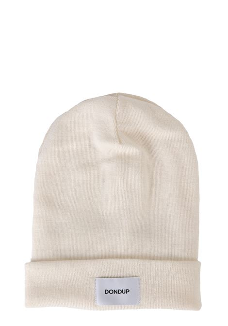 WHITE MIXED WOOL HAT WITH FRONT LOGO APPLICATION DONDUP | Hats | UQ063Y00304XXXDUW19001