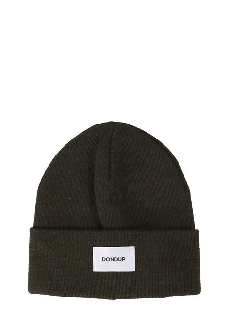 GREEN MIXED WOOL HAT WITH FRONT LOGO APPLICATION DONDUP | Hats | UQ063Y00304XXXDUW19640