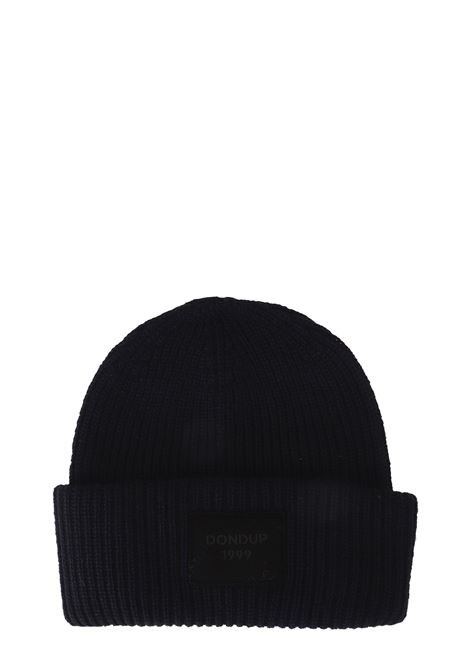 BLUE WOOLEN HAT WITH FRONT LOGO APPLICATION DONDUP | Hats | UQ079Y00304XXXDUW19897