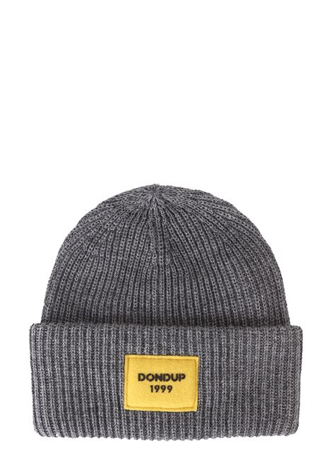 GRAY WOOLEN HAT WITH FRONT LOGO APPLICATION DONDUP | Hats | UQ079Y00304XXXDUW19909