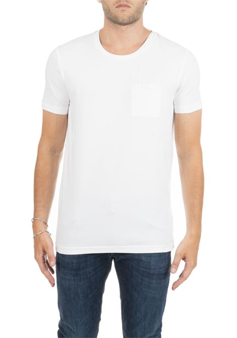 WHITE T-SHIRT WITH FRONT LOGO DONDUP | T-shirt | US221JS0125M07DUW19000