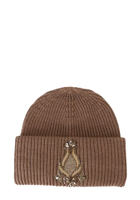 BROWN WOOLEN HAT WITH FRONTAL APPLICATION DONDUP | Hats | WQ082Y00474Z89PDDW19034
