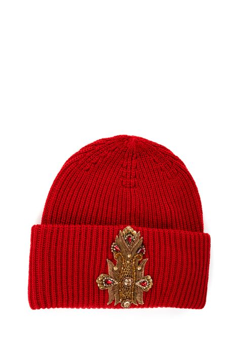 RED HAT WITH FRONTAL APPLICATION DONDUP | Hats | WQ082Y00474Z91PDDW19504