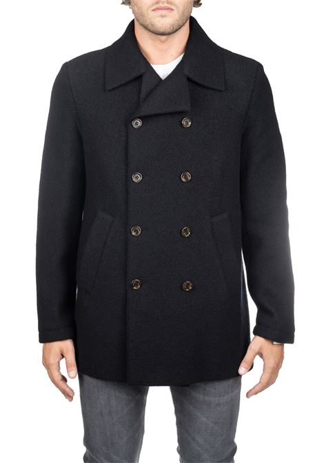 BLACK DOUBLE BREASTED WOOL COAT ELEVENTY | Coats | 979CS0174BTCRNCAS2400422