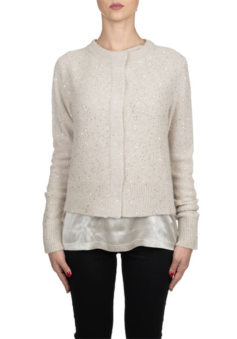 BEIGE CARDIGAN IN WOOL AND SILK WITH SEQUINS FABIANA FILIPPI | Cardigans | MAD129B110B1080101