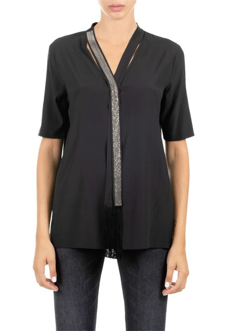 BLACK SILK SHIRT WITH MONILE COLOR TIE AND GRAY FABIANA FILIPPI | Shirts | TPD119B903B075825