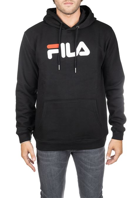 BLACK COTTON SWEATSHIRT WITH FRONT LOGO PRINT FILA | Sweatshirts | 681090002