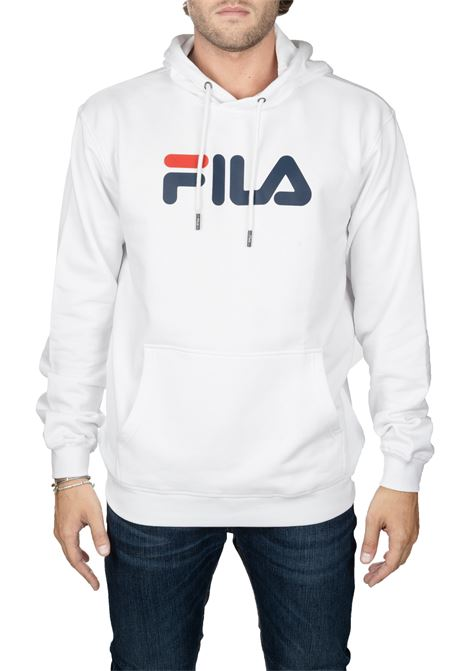 WHITE COTTON SWEATSHIRT WITH FRONT LOGO PRINT FILA | Sweatshirts | 681090M67