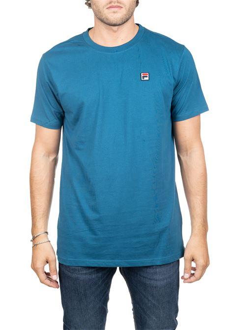 T-SHIRT BLU IN COTONE CON RICAMO LOGO FRONTALE FILA | T-shirt | 682393C31