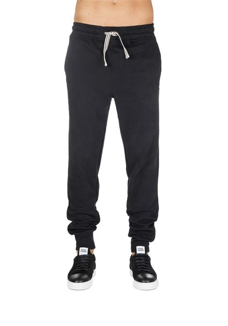 BLACK SUIT COTTON PANTS WITH FRONT LOGO EMBROIDERY FILA | Pants | 684385002
