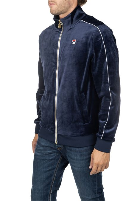 BLUE SWEATER IN CINIGLIA WITH FRONT LOGO EMBROIDERY FILA | Sweatshirts | 684559003
