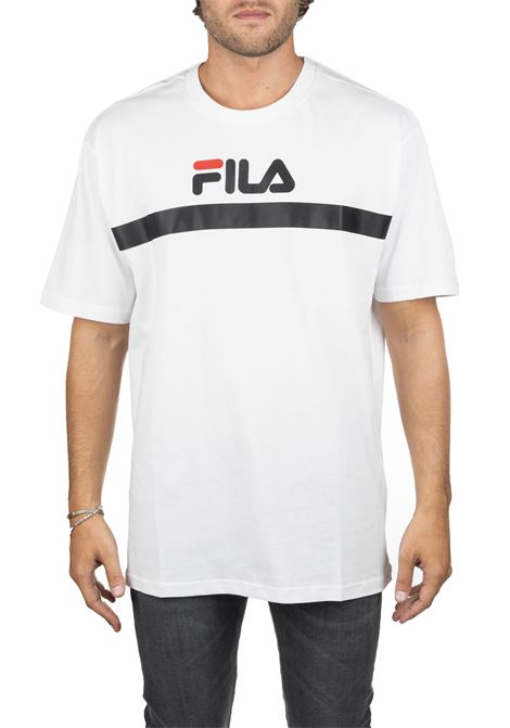 WHITE COTTON T-SHIRT WITH FRONT BACK LOGO APPLICATION FILA | T-shirt | 687231M67