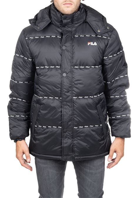 BLACK JACKET WITH MINI PRINTED LOGOS FILA | Jackets | 687288002