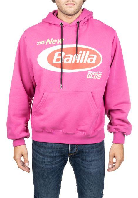 FUCSIA COTTON SWEATSHIRT WITH BARILLA FRONT LOGO PRINT GCDS | Sweatshirts | BR20U02000306