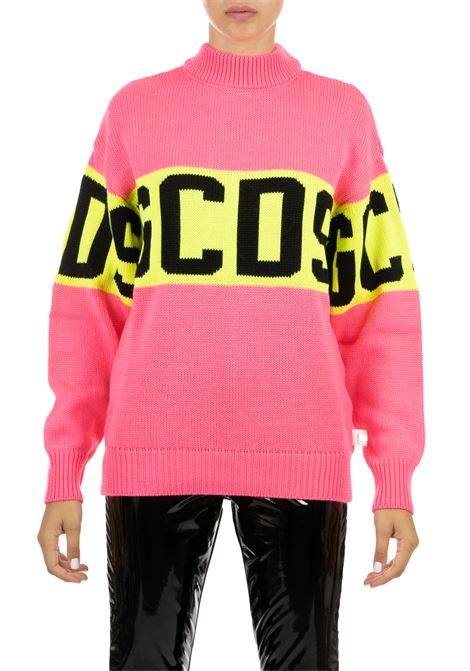 PINK WOOL BLENDED SWEATER WITH INLAY LOGO GCDS | Sweaters | CC94M020218PINK