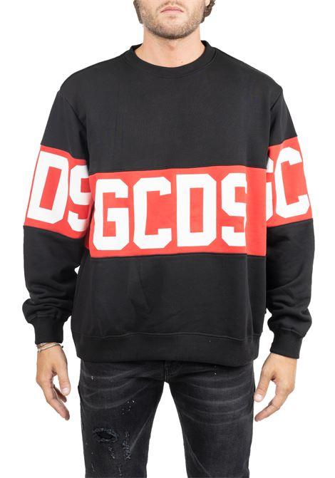BLACK COTTON SWEATSHIRT WITH CONTRAST LOGO PRINT GCDS | Sweatshirts | CC94M020222BLACK