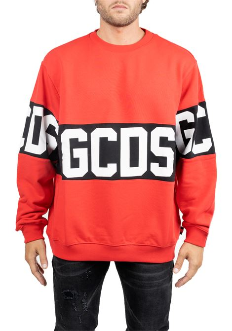 RED COTTON SWEATSHIRT WITH CONTRAST LOGO PRINT GCDS | Sweatshirts | CC94M020222RED