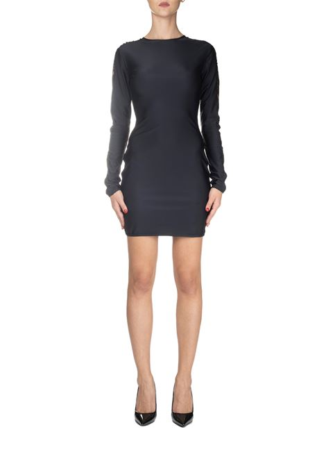 BLACK SHORT DRESS WITH SIDE LOGO EMBROIDERY GCDS | Dress | CC94W02021002
