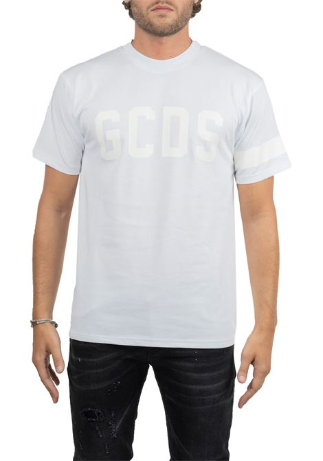 WHITE T-SHIRT WITH FRONT LOGO EMBROIDERY GCDS | T-shirt | CC94W02077301