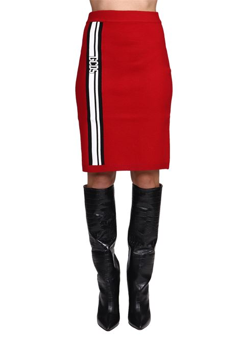 RED SKIRT WITH FRONT LOGO GCDS | Skirts | CC94W03022203