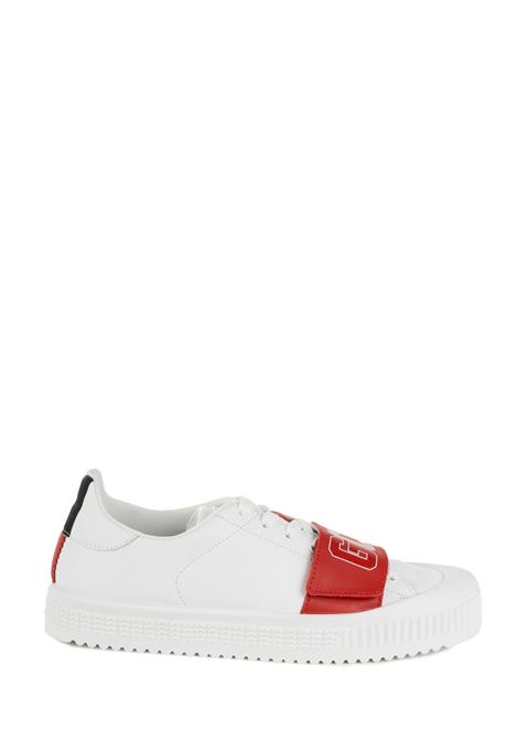 WHITE LEATHER SNEAKERS GCDS | Sneakers | FW20M01010001