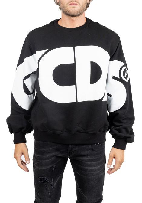BLACK SWEATER WITH MAXI FRONT LOGO GCDS | Sweatshirts | FW20M020013BLACK