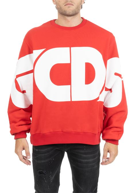 RED SWEATER WITH MAXI FRONT LOGO GCDS | Sweatshirts | FW20M020013RED