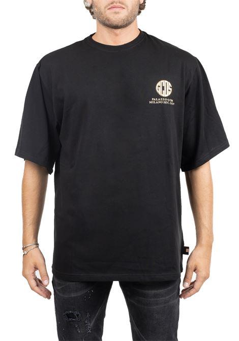 BLACK T-SHIRT WITH FRONT LOGO APPLICATION GCDS | T-shirt | FW20M020025BLACK