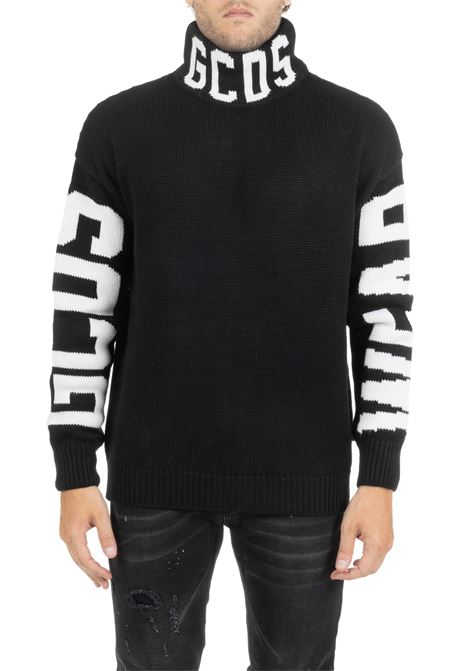 BLACK SWEATER WITH FRONT AND SIDE LOGO GCDS | Sweaters | FW20M020056BLACK