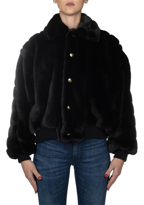 BLACK BOMBER IN ECO FUR GCDS | Fur coat | FW20W04002002