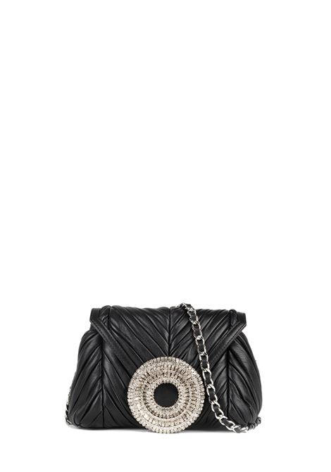 BLACK LEATHER BAG WITH CRYSTAL FRONT APPLICATION GEDEBE | Bags | CLAIRENERO
