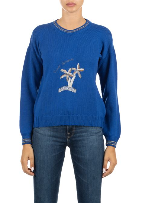 COBALT WOOL SWEATER WITH FRONTAL APPLICATIONS GIADA BENINCASA | Sweaters | A0720COBALTO