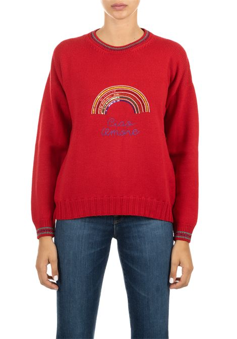 RED WOOL SWEATER WITH FRONTAL EMBROIDERY GIADA BENINCASA | Sweaters | A0720V12