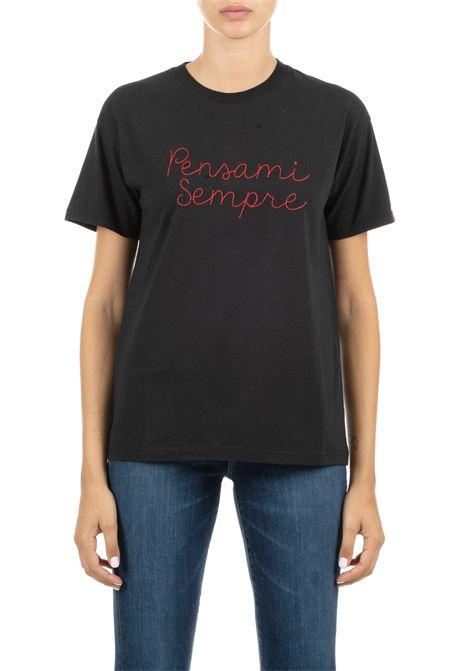 T-SHIRT NERA IN COTONE  CON RICAMO FRONTALE GIADA BENINCASA | T-shirt | A0952TNTF6