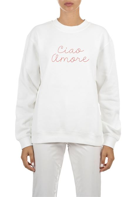 WHITE COTTON SWEATSHIRT WITH FRONTAL EMBROIDERY GIADA BENINCASA | Sweatshirts | A0961FP1