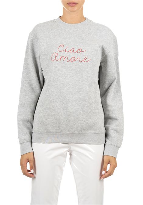 GRAY COTTON SWEATSHIRT WITH FRONTAL EMBROIDERY GIADA BENINCASA | Sweatshirts | A0961FP2