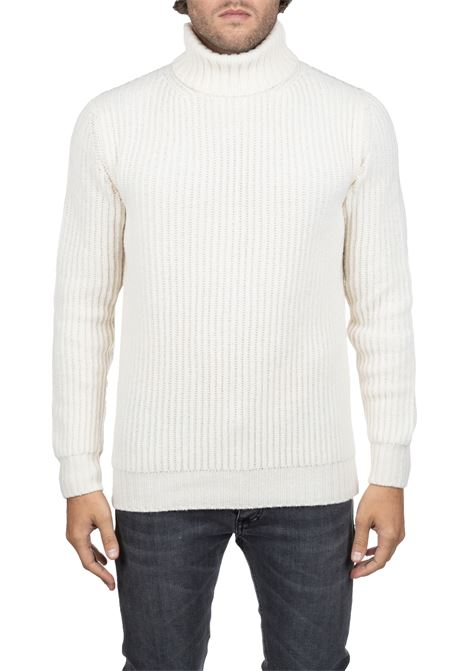 WHITE SWEATER HIGH NECK IN FINE MERINO WOOL KANGRA | Sweaters | 8201052