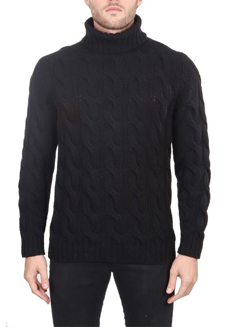 BLACK SWEATER IN FINE WOOL MERINO WOVEN EMBROIDERED FINE KANGRA | Sweaters | 83070513