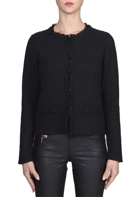 BLACK CARDIGAN WITH LUREX DETAILS KANGRA | Cardigans | 86255813