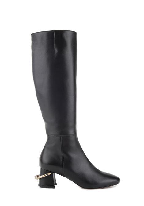 BLACK LEATHER BOOT WITH APPLICATION L'AUTRE-CHOSE | Boots | LDK068.601001