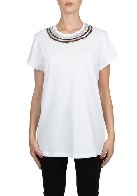 WHITE COTTON T-SHIRT WITH FRONTAL JEWEL APPLICATION L'EDITION | T-shirt | LE0352/R90001