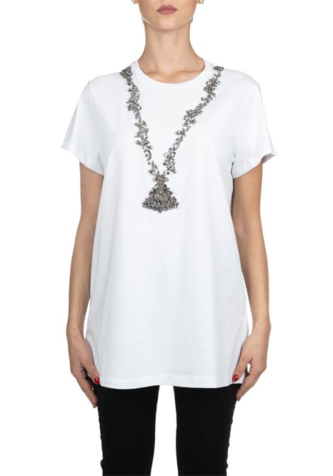 WHITE COTTON T-SHIRT WITH FRONTAL JEWEL APPLICATION L'EDITION | T-shirt | LE0354/R110001